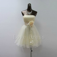 Charming A-line mini sweetheart beige prom dress/homecoming dress