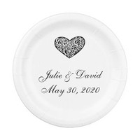 Black and White Heart Wedding Paper Plates