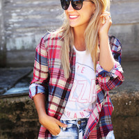 University Plaid Button Up