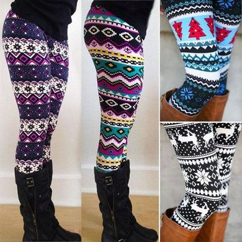 ONETOW 1pc Aztec Leggings Women Stretchy Knit Christmas Gift Snowflake Leggins Ankle Length Tribal Printed Casual Skinny Slim Legging