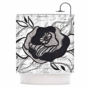"Li Zamperini ""Like A Rose"" Black White Shower Curtain"