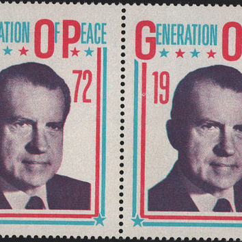 2 Nixon Campaign 1972 Stamps Generation of Peace