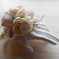 Wrist Corsage hand made of Sola Flowers, Jute, Burlap & Lace, for Rustic, Country, Woodland Style Weddings. Made to Order.