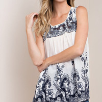 Embroidered Baby Doll Tank