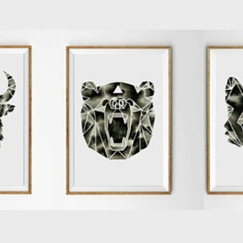 Watercolor Print Set . Three 3 Geometric Paintings . Buffalo Bison . Wolf . Bear . Woodland Animal Art . Black White Nursery Artwork