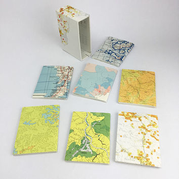 Mini notebook set, Mini journal set, Map Notebook Collection,  Small blank notebooks, Small Book Set, Boxed Mini Journals