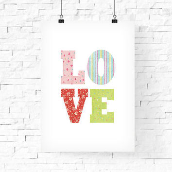 "Valentine's Day LOVE Poster, Chic Decor, Printable LOVE Wall Art, 8""x10"" Instant Download - LOVE Digital Print - Home Decor - Wall Decor"
