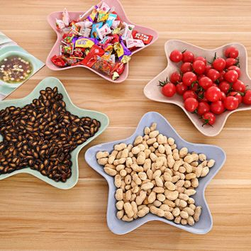 New 1 PCS Star Fruit Dinner Dish Plate Feeding Bowl Slip Heat Resistant Fruit Food Bowl Dinnerware Plate P10