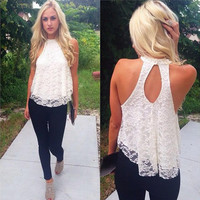 Fashion Women Halter Top Lace Camis Floral vest shirts Sexy Backless Casual Vest Tank Tee Loose TShirt Tops Blouse