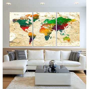 colorful Push Pin world map wall art 3 panel extra large wall art  push pin travel world map canvas modern home decor, framed  hr87