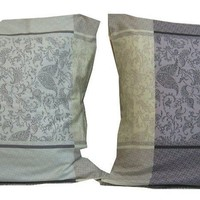 "DaDa Bedding Elegant Grey Floral Paisley Pillow Cases - Queen 20"" x 30"" - 2 Pieces (8222)"