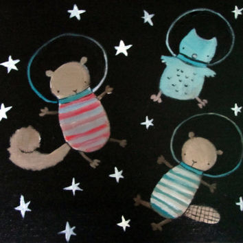 Outer Space Woodland Nursery Kids Wall Art, Stars, Original Painting, Squirrel, Beaver, Owl
