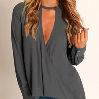 Grey Long Sleeve Button Overlap Deep V-Neck Top