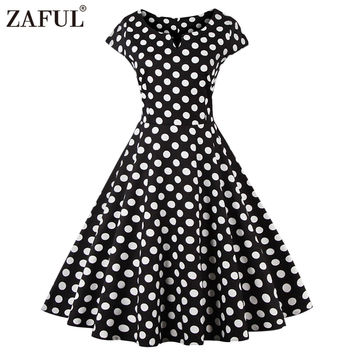 ZAFUL New Vintage feminin Vestidos Women Dress Retro Rockabilly 50s Hepburn Dot Short Sleeve Ball Gown plus size Party dresses