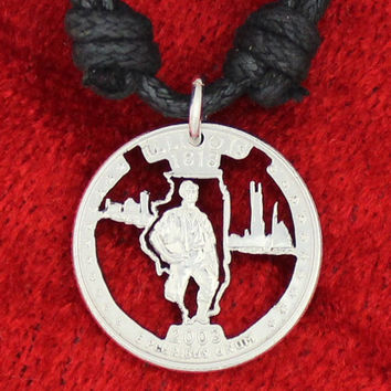 Illinois state necklace, quarter cut coin pendant, state quarter jewelry, keychain, hand cut coin
