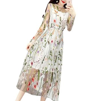 Runway summer Mesh Lace Embroidery Evening Party Beach Dresses Gorgeous Boho Bohemian Long Dress Brand Style vestidos A17