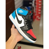 NIKE AIR JORDAN 1 Popular Women Men Casual Color Matching High Top Sport Shoes Sneakers 1# Blue/Black/Red I-AA-SDDSL-KHZHXMKH