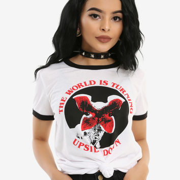 Stranger Things Upside Down Girls Ringer T-Shirt