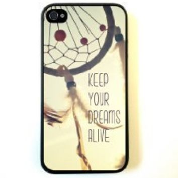 Keep Your Dreams Alive Cute Inspirational Quote Dreamcatcher Iphone 4 Case