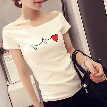 Women Casual Fashion Electrocardiogram Love Heart Print Short Sleeve Off Shoulder Bodycon T-shirt Top Tee