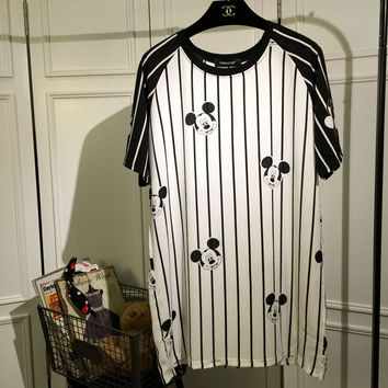 White Mickey Mouse Head Striped Short Sleeves Loose Chiffon T-Shirt