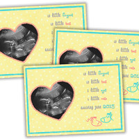 Ultrasound Pregnancy Announcement Card - Sonogram Pregnancy Reveal - 10 fingers 10 toes - Cute Pregnancy Reveal Idea - Booties - Neutral