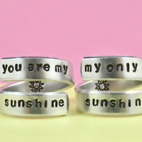 [♡005] you are my sunshine/my only sunshine - Hand stamped Aluminum Rings Set,  Mother Daughter Rings