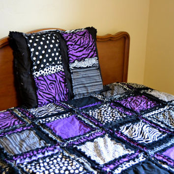 RAG QUILT, Queen Size Bed, Zebra, Purple, Black, Made To Order