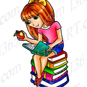 Digital Stamp, Coloring Page Line Art Illustration For Children and Clipart, Cute Girl Reading Books Anime Chibi Character 8 x 9 Download