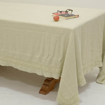 Homespun 72x120 Linen Tablecloth with Crochet Lace Trim in SAND