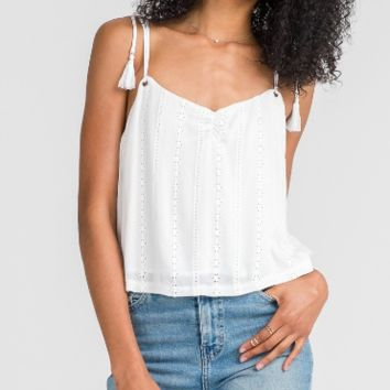 Women's Embroidered Cami Tank with Tie Straps