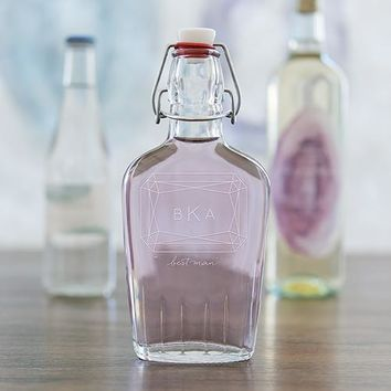 Personalized Clear Glass Hip Flask Monogram Gem Etching (Pack of 1)