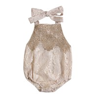 Summer Newborn Toddler Infant Baby Girl Lace Romper Backless Jumpsuit Clothes Sun-suit With Headband