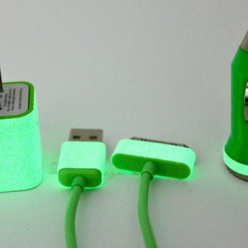 Glow in the dark iphone charger with wall adapter and car charger