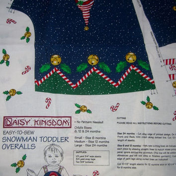 DK snowman overall romper  fabric panel craft  1yd quilting sewing material BTY 6-24 mos Daisy Kingdom