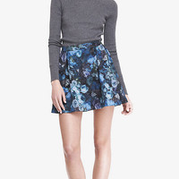 PAINTED FLORAL SCUBA FULL SKIRT - BLUE AND GREEN from EXPRESS