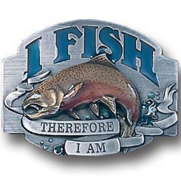 Sports Accessories - I Fish Therefore I Am Enameled Belt Buckle
