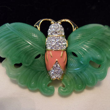 Kenneth J Lane KJL Butterfly Jewelry Brooch Enamel Jade Green Glass Rhinestone Gold Plate Pin
