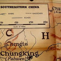 Hand Drawn & Painted 1940s Map of Southeastern China, Very Large 3 Color Hand Calligraphy Waterproof Map No. 5 with No Maker's Marks WW2 Map