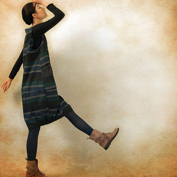 Striped Wool Dress in Winter / Long Dress in black / Tunic Dress