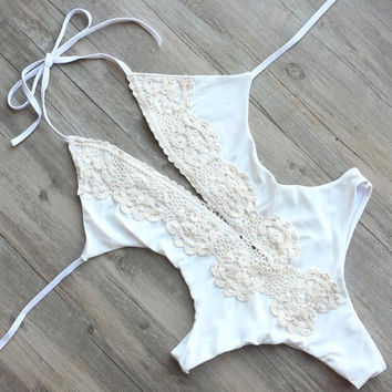 Womens White Lace Bandage One Piece Swimsuit Sets Sexy Swimwear Bodysuit