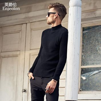 winter Turtleneck knitted pullover Sweaters man solid black grey Clothing,Man casual Sweater