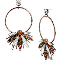 Betsey Johnson Leopard Stone Gypsy Hoop Earrings