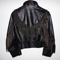 Vintage 70s Leather Fringe Jacket - small -