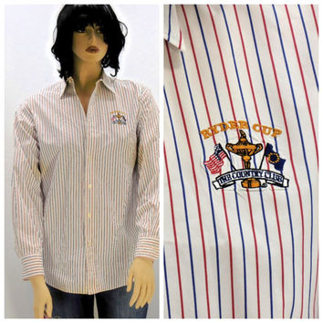 Vintage 80s Polo Ralph Lauren striped cotton oxford shirt size L, 1980s Polo preppy long sleeve red white striped blouse, SunnyBohoVintage