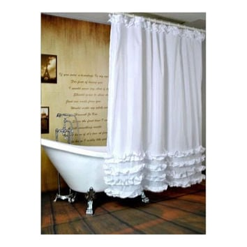 White  Waterproof Bathroom Fabric Shower Curtain Liner 12 Hooks