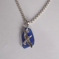 Blue sea glass and sea gull necklace