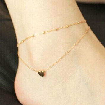 Fashion Korean Love Heart Ankle Bracelet Double Layer Chain Sexy Foot Anklet Gift (Size: 19 cm, Color: Gold)