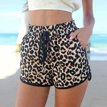 New Women's Shorts European Fashion Spring Summer Leopard Printed Shorts Casual Short Pants A_L = 5613022337