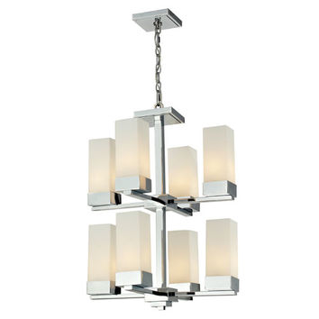 Z-Lite 190-8 Sapphire Eight-Light Chrome Chandelier with Rectangular Matte Opal Glass Shades